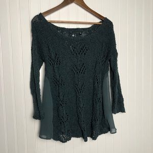 Anthropologie knitted and knotted open knit blouse